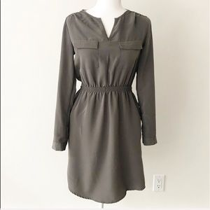 Mossimo   Olive Green Roll-Tab Shirt Dress